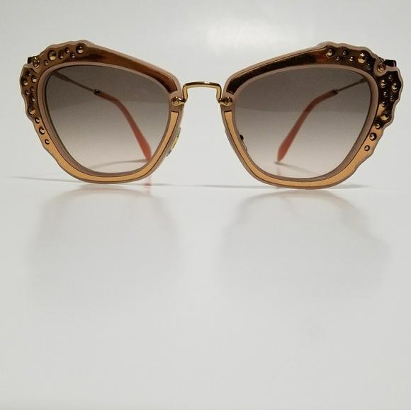 752d1456ced0 Miu Miu Cat eye Rose Gold Rhinestone Sunglasses